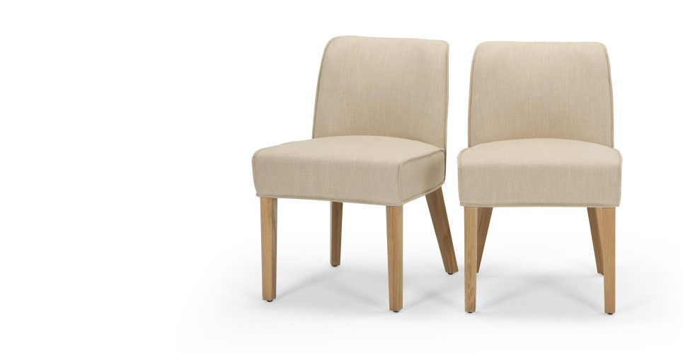 2 x Falan Dining Chairs, Biscuit Beige with Natural Oak Leg | made.com