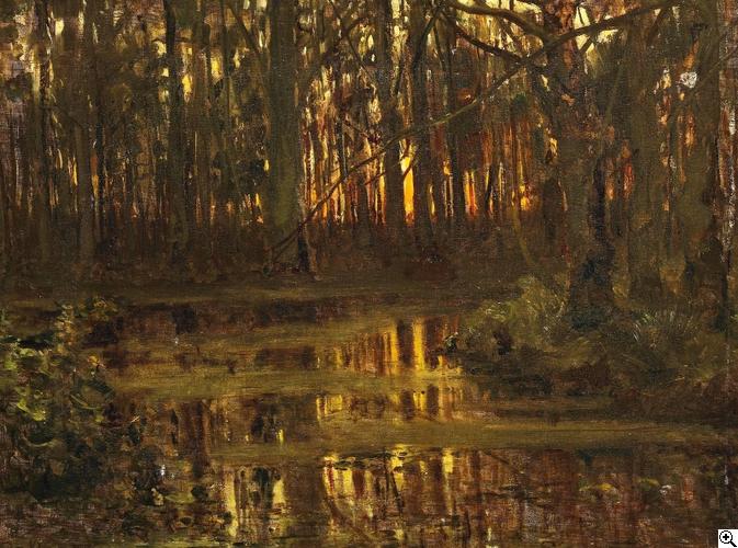 julius sergius von klever   Waldlichtung mit Teich von Julius Sergius von Klever ...