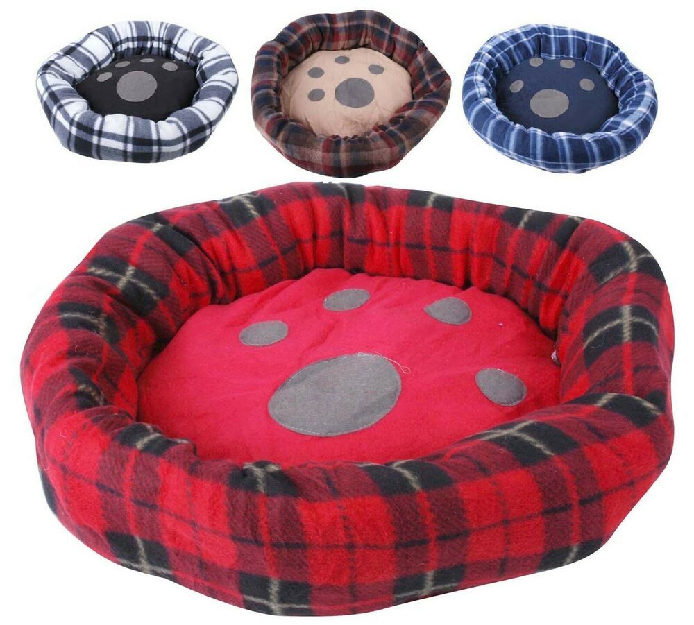 Small Dog Round Plush Dog Bed 55cm In Tartan Design Grey