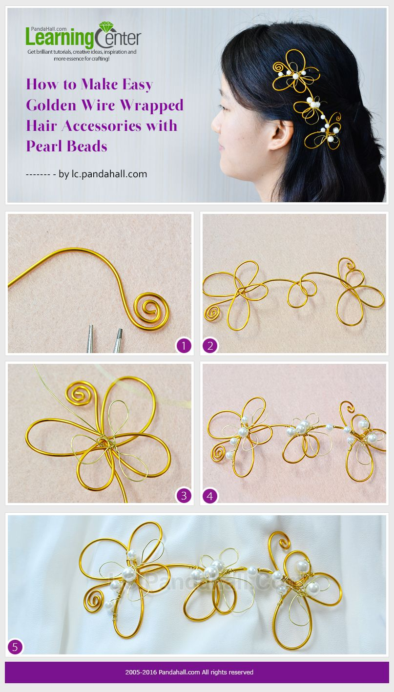How to Make Easy Golden Wire Wrapped Hair Accessories with Pearl ...