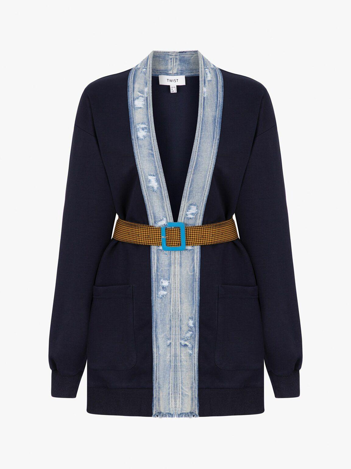 Lacivert Jean Mixli Kemerli Ceket Tw6190005060015 Twist 2020 Moda Stilleri Kot Ceket Kadin Ceketleri