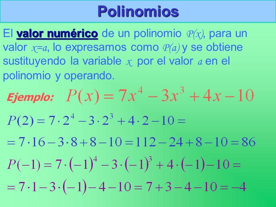 Valor Numérico De Un Polinomio Polinomios Expresiones Algebraicas Numerico