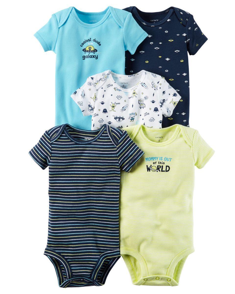 977e8252c $14 - Carter's 5 Pack Bodysuits Nwt Size Nb 3M 6M 9M 12M 18M 24M Boys Tops  Space #ebay #Fashion