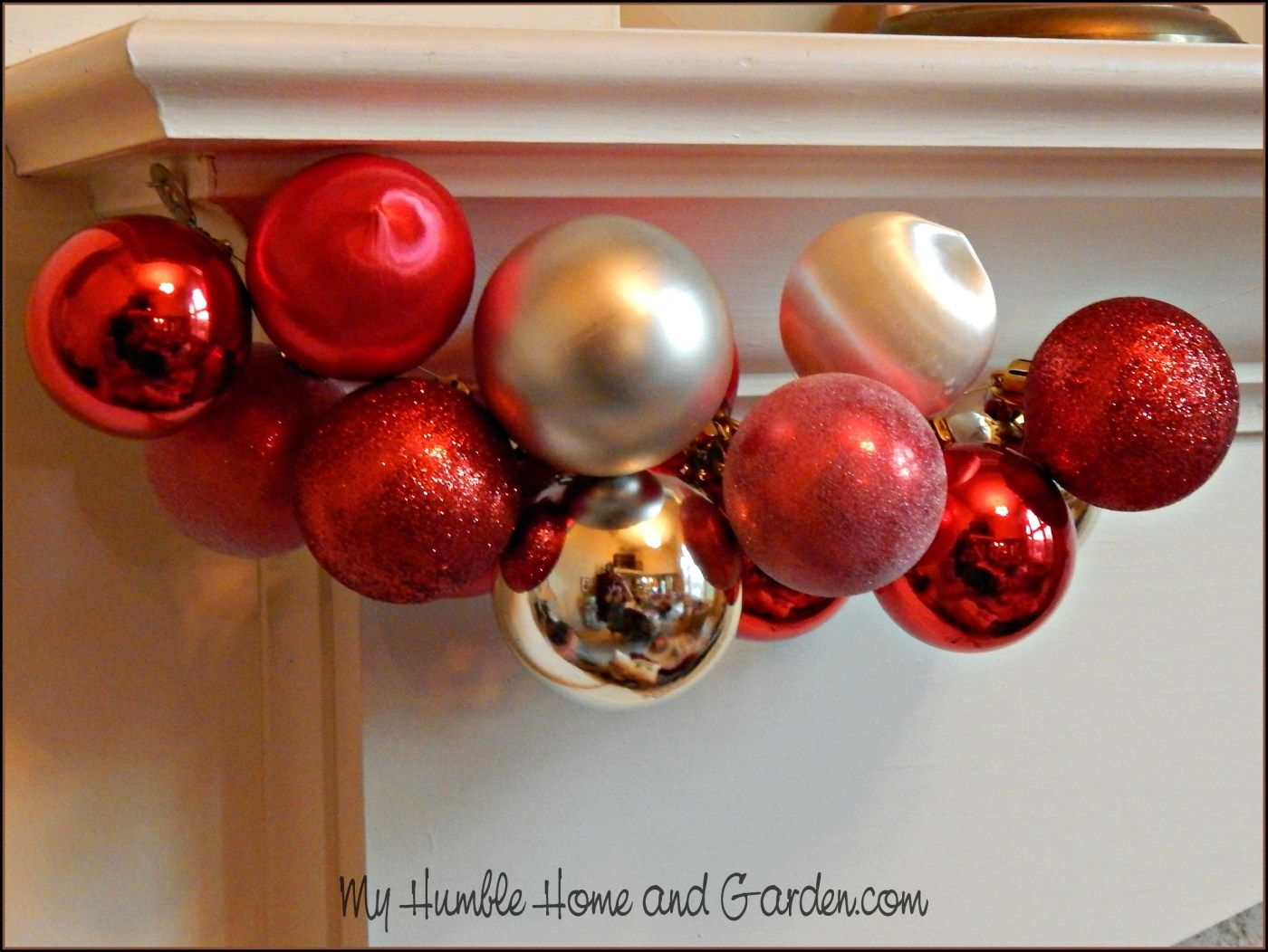 How To Easily Make Beautiful Christmas Ornament Garland My Humble Home And Garden Ornament Garland Christmas Ornaments To Make How To Make Ornaments