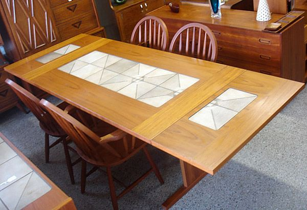 The Gangs Mobler Danish Teak Dining Table W Tile Inlay Furnish Me