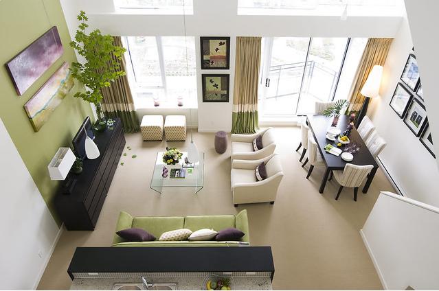 decoração de sala de estar e jantar quadrada - Pesquisa Google