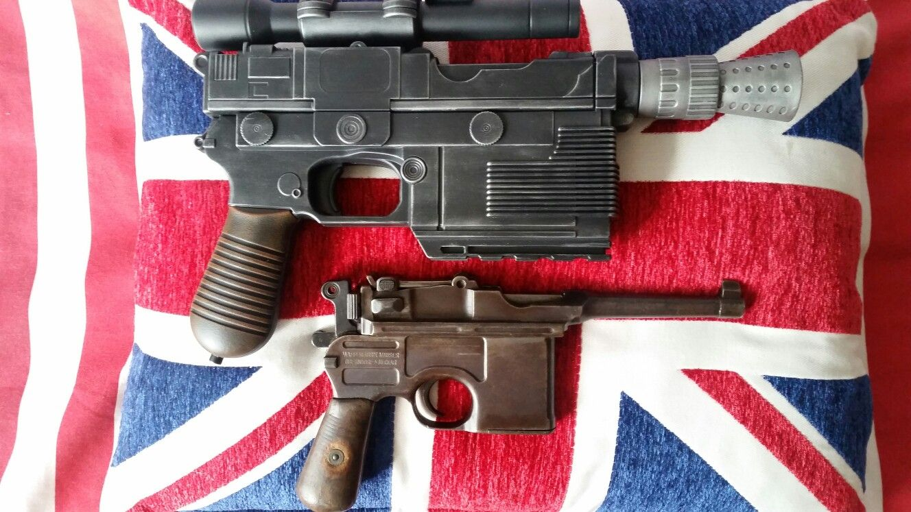 Size comparison between my repainted Nerf #StarWars Han Solo blaster with  my real (but