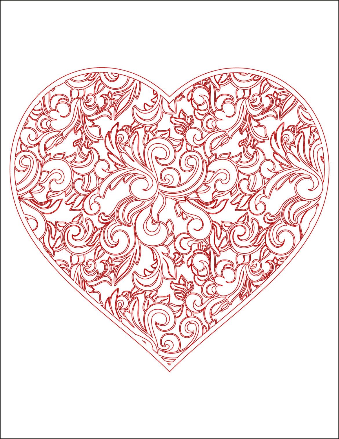 Coloriage gratuit coeur doodle rouge