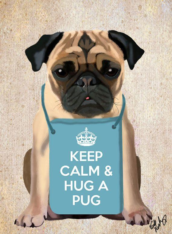 Hug A Pug Art Print Digital Puggle Pug Illustration Pug Print Wall