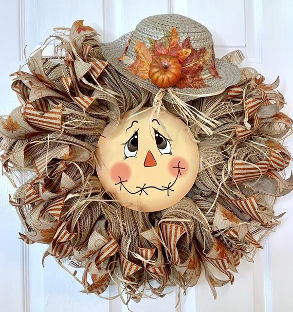 Scarecrow Face Wreath, Scarecrow Wreath, Best Seller Wreath, Fall Door Decor, Scarecrow Door Decor, Scarecrow Door Hanger, Holiday Wreath