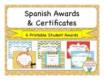 Spanish awards certificates for the classroom certificate spanish awards certificates for the classroom yadclub Image collections
