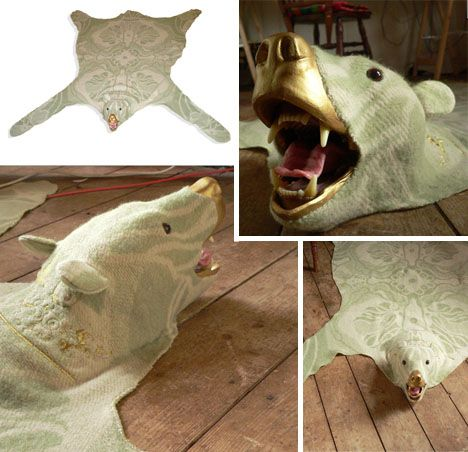 Funny Faux Bear Skin Rug Idea For Real Live Animal