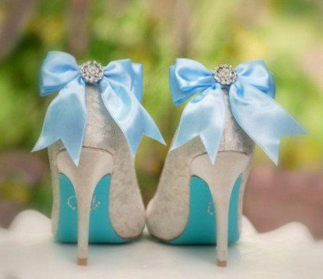 Something Blue Bow Shoe Clips Shiny Rhinestones Wedding Bride