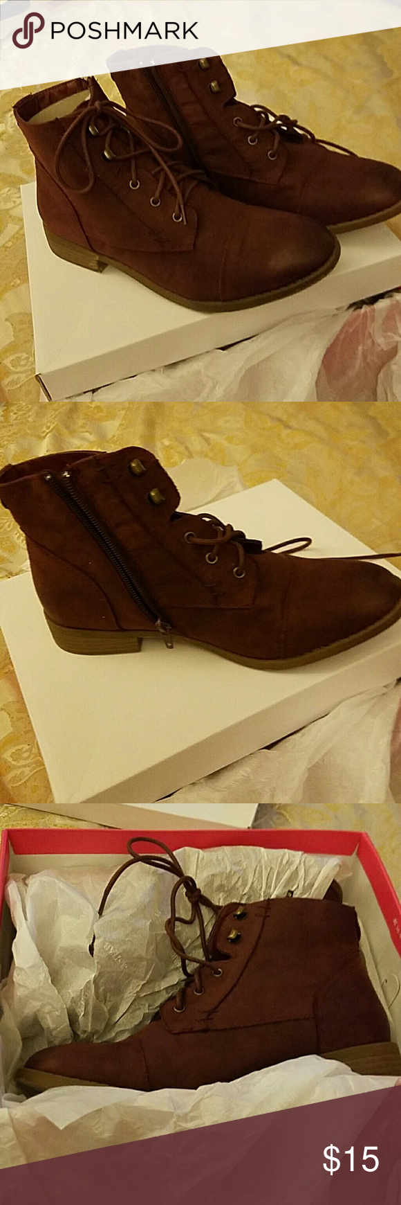 New Ankle Boot Burgundy size 9 Super stylish, Just Fab Miah ankle boot. Inside zipper makes it very comfortable and easy to get off and on  They lace up front and amazing suede burgundy color, will quickly become your go to daily boot. You can't go wrong. They belong in your closet. JustFab Shoes Ankle Boots & Booties