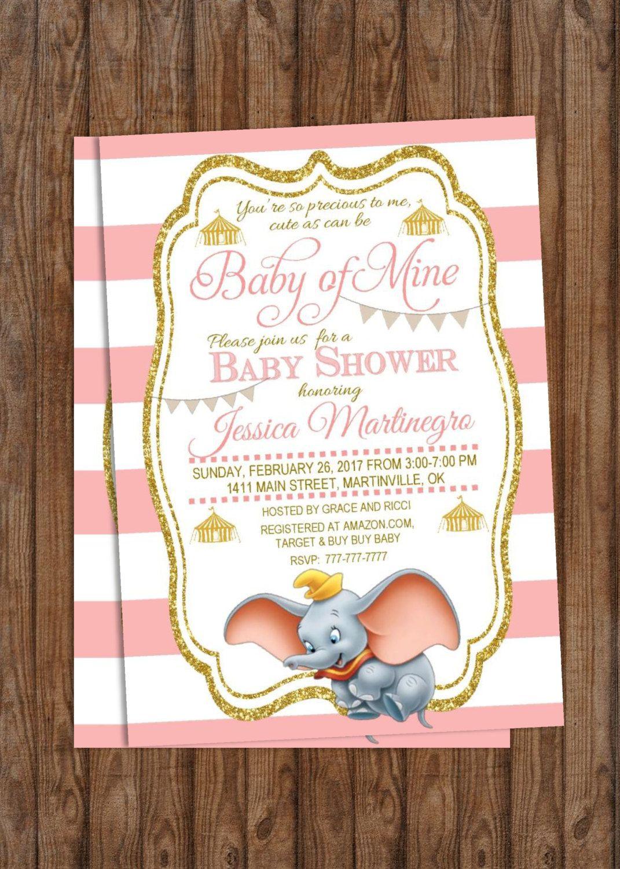 Diy Printable Baby Shower Invitation Baby Of Mine Dumbo