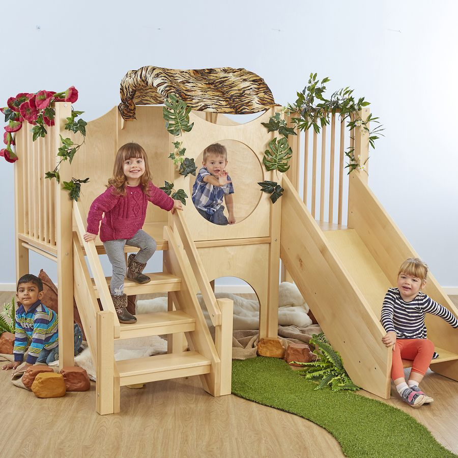 Transform Your Room With This Beautiful Structure And Encourage Climbing Sliding And Crawling Daycare Design Kids Indoor Playground Indoor Slides