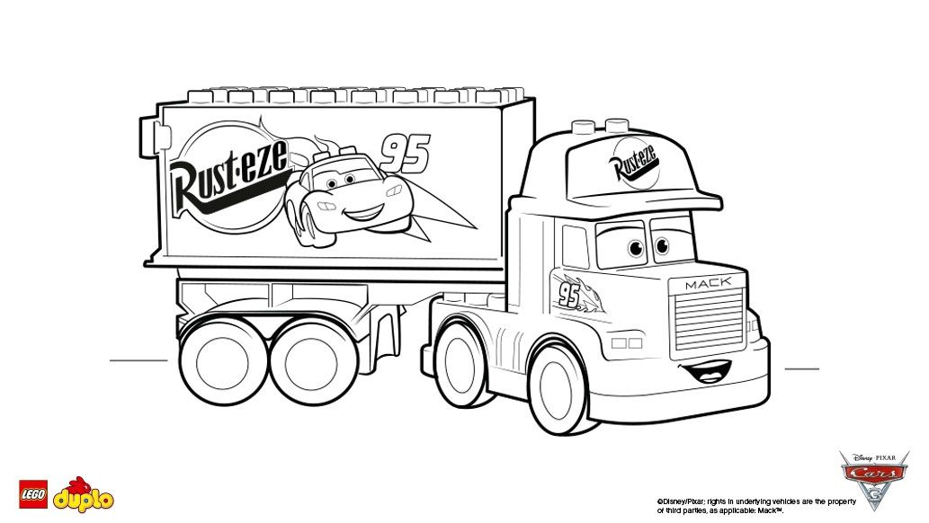 Cars 3 Coloring Pages Lego Duplo Cars 3 Mack Coloring Page Coloring Pages Boys 1033 X 582 Pixels Cars Coloring Pages Coloring Pages Lego Duplo Cars