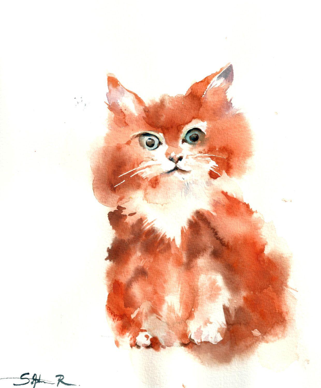 Kitten Watercolor Painting, Orignal Watercolor Painting, Kitty Cat Art, Orange, Watercolour Art by CanotStop on Etsy