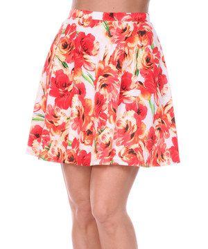 White Mark Red & Orange Rose A-Line Skirt by White Mark #zulily #zulilyfinds