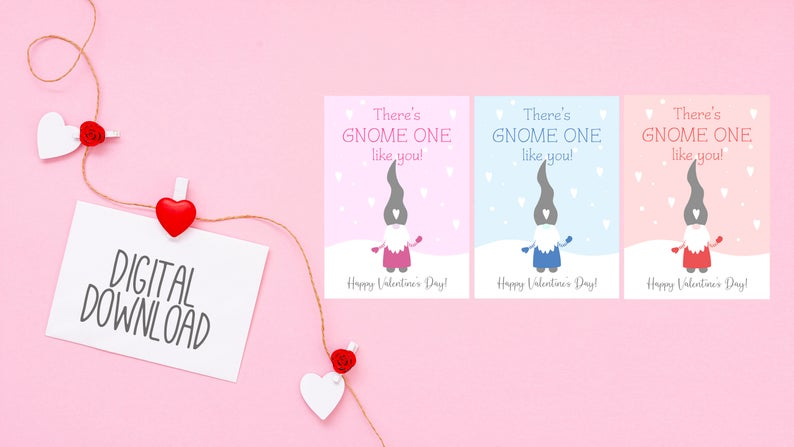 Kids Gnomes Valentines Day Cards, Digital Download, Gnomes