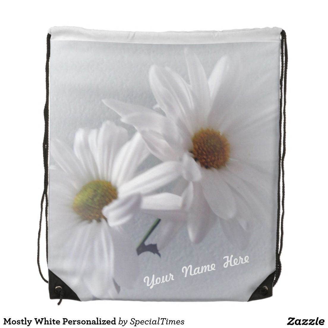 Mostly White Personalized Drawstring Bag - White daisies, on an almost white background, speak of sweetness and purity. #personalized #daisies #floral #white #backpack #zazzle