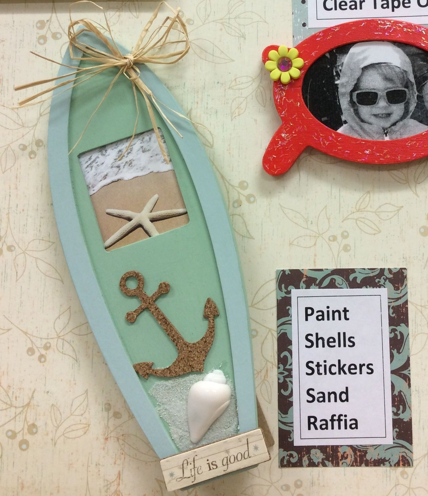 Surf Board Picture Frame I made for ACMoore sample. Frames are only ...