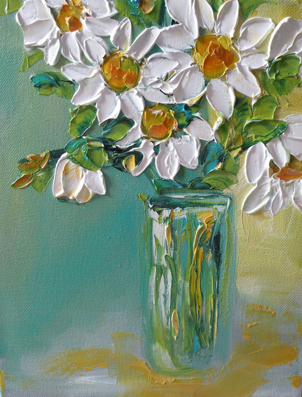 Original oil painting impasto daisy flowers by for Flower paintings on canvas