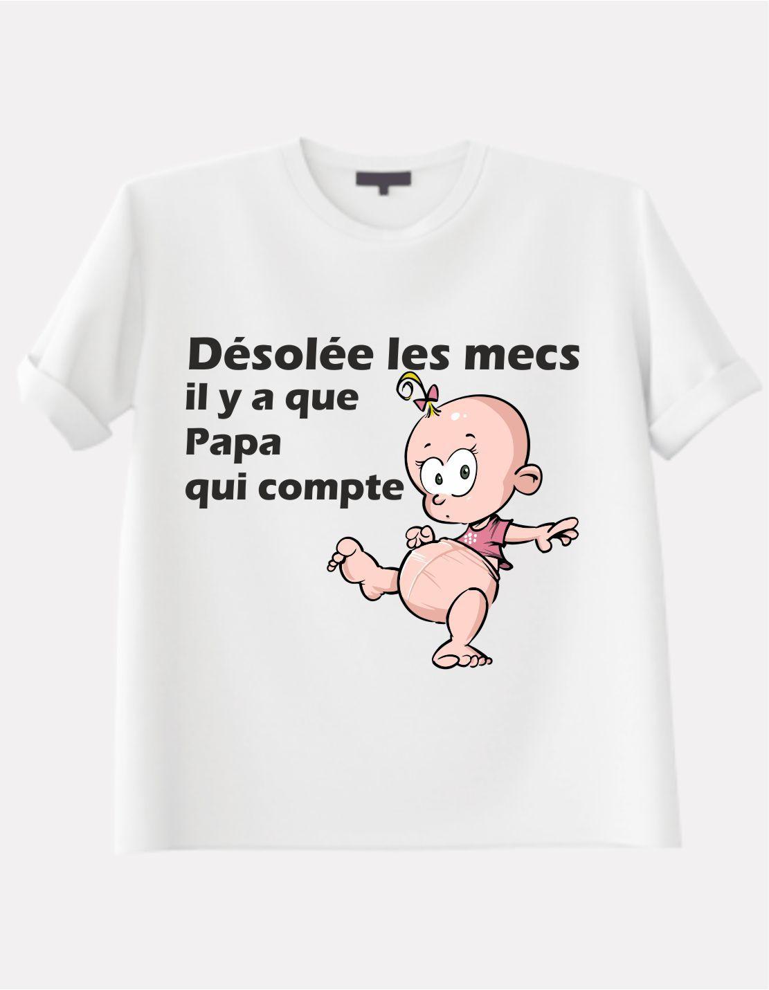 T-Shirt pour fille avec dessin d'une petite fille drôle avec petite queue