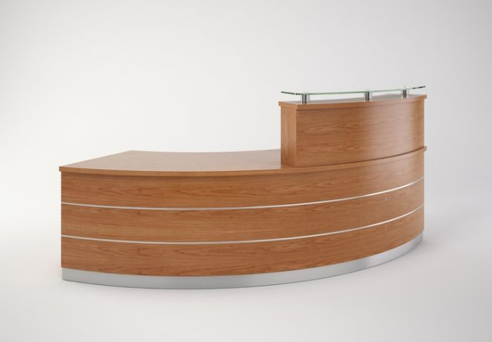 Contor Curved Reception Desk 4 High Counter With Glass - Glasregal Aus Paletten