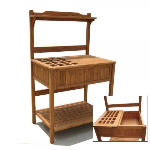 Wood Potting Gardening Bench w Recessed Storage Outdoor Garden Work Table | eBay