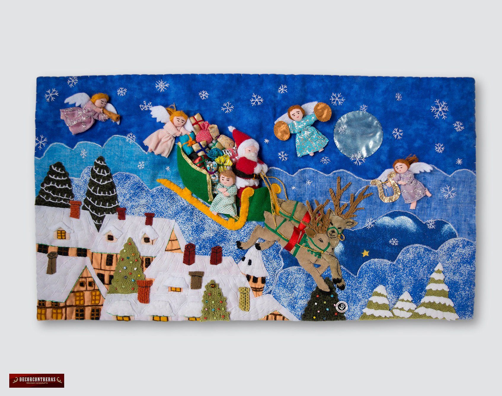 Quilted Christmas Wall Hanging 10h From Peru Arpillera Etsy Christmas Wall Hangings Peruvian Art Applique Wall Hanging