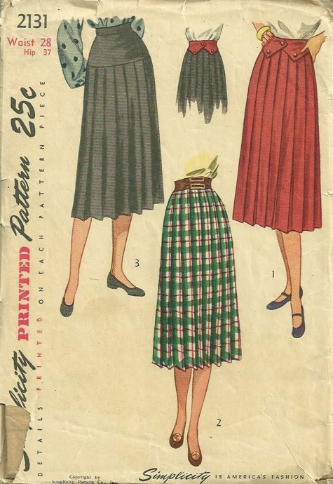 73af37b92 Knife Pleated Skirt, Contour Belt Pattern Simplicity 2131 Womens Vintage  Sewing Pattern by patterngate.com