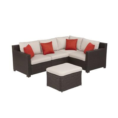 Hampton Bay Elmsley 5pc Woven Sectional Set S14005 6 8
