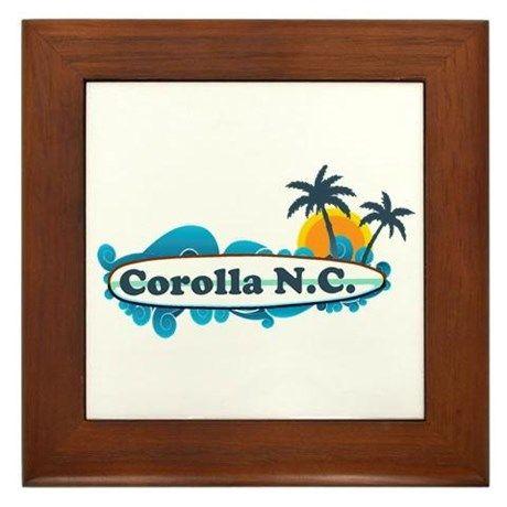 Corolla NC - Surf Design Framed Tile on CafePress.com