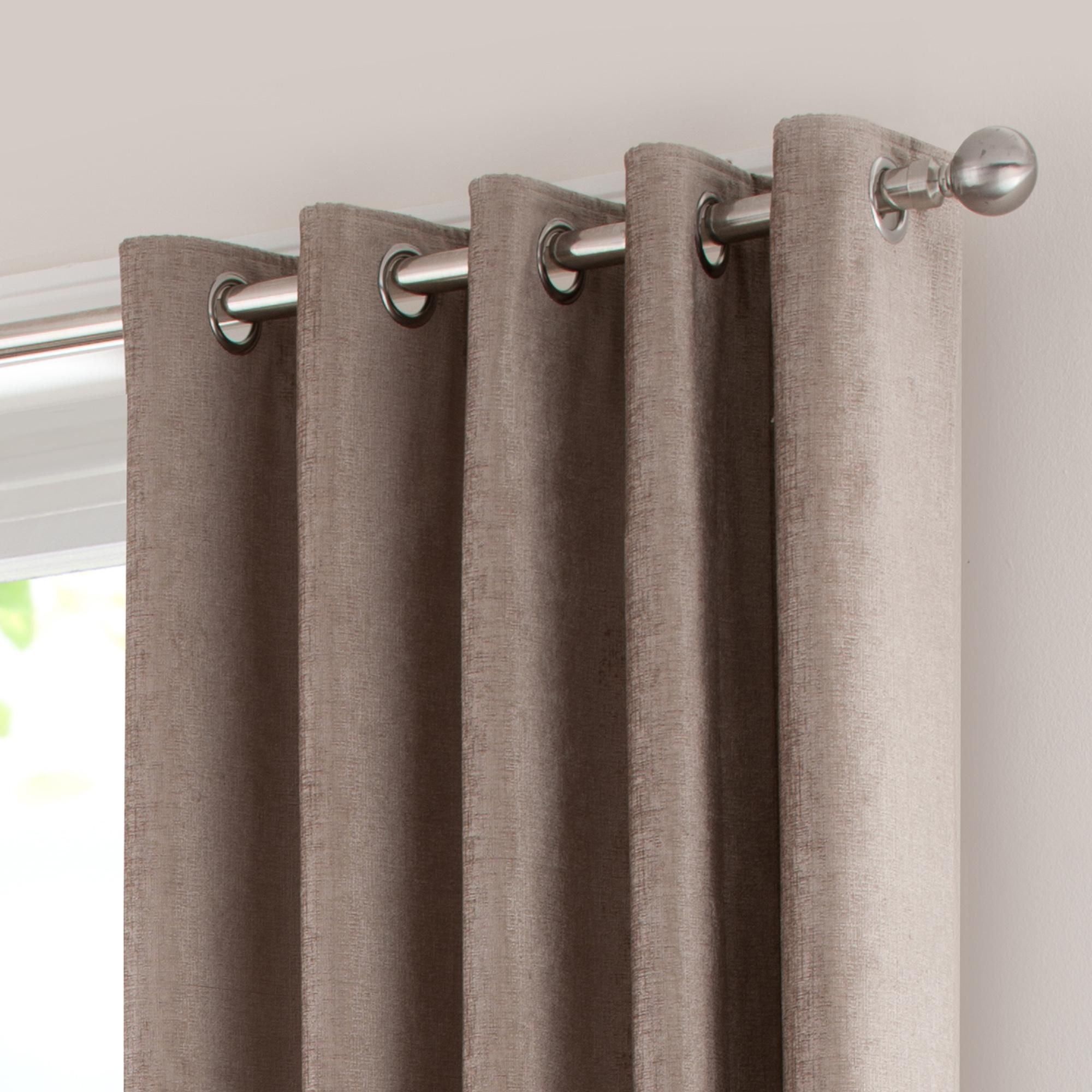 Dunelm Textured Taupe Brown 228x182cm Chenille Lined Eyelet Curtains Curtains Chenille Curtains Taupe Living Room