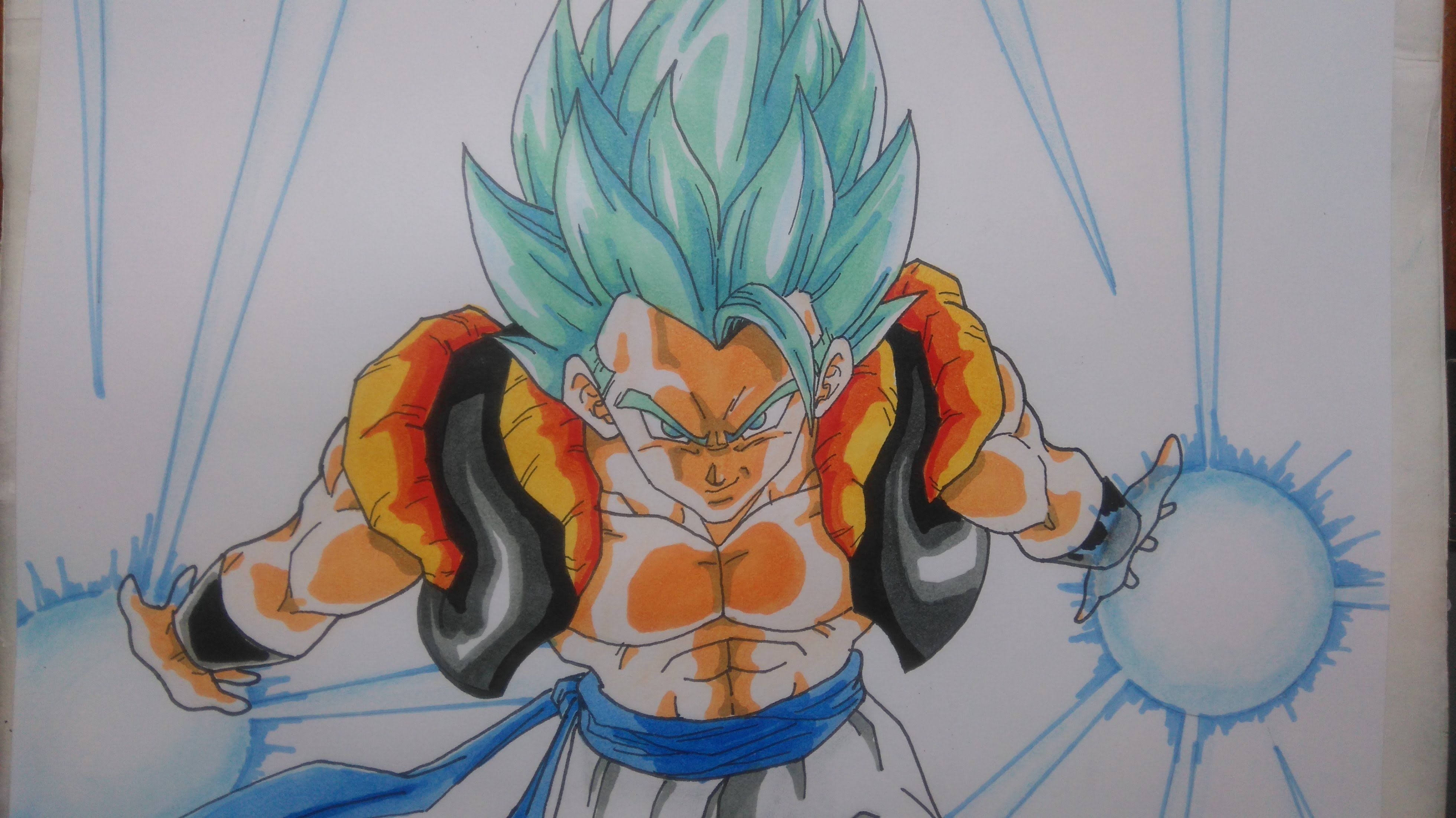 Goku Super Sayayin Dios Azul Para Colorear: Dibujando A Gogeta Super Saiyajin Dios Azul. How To Draw