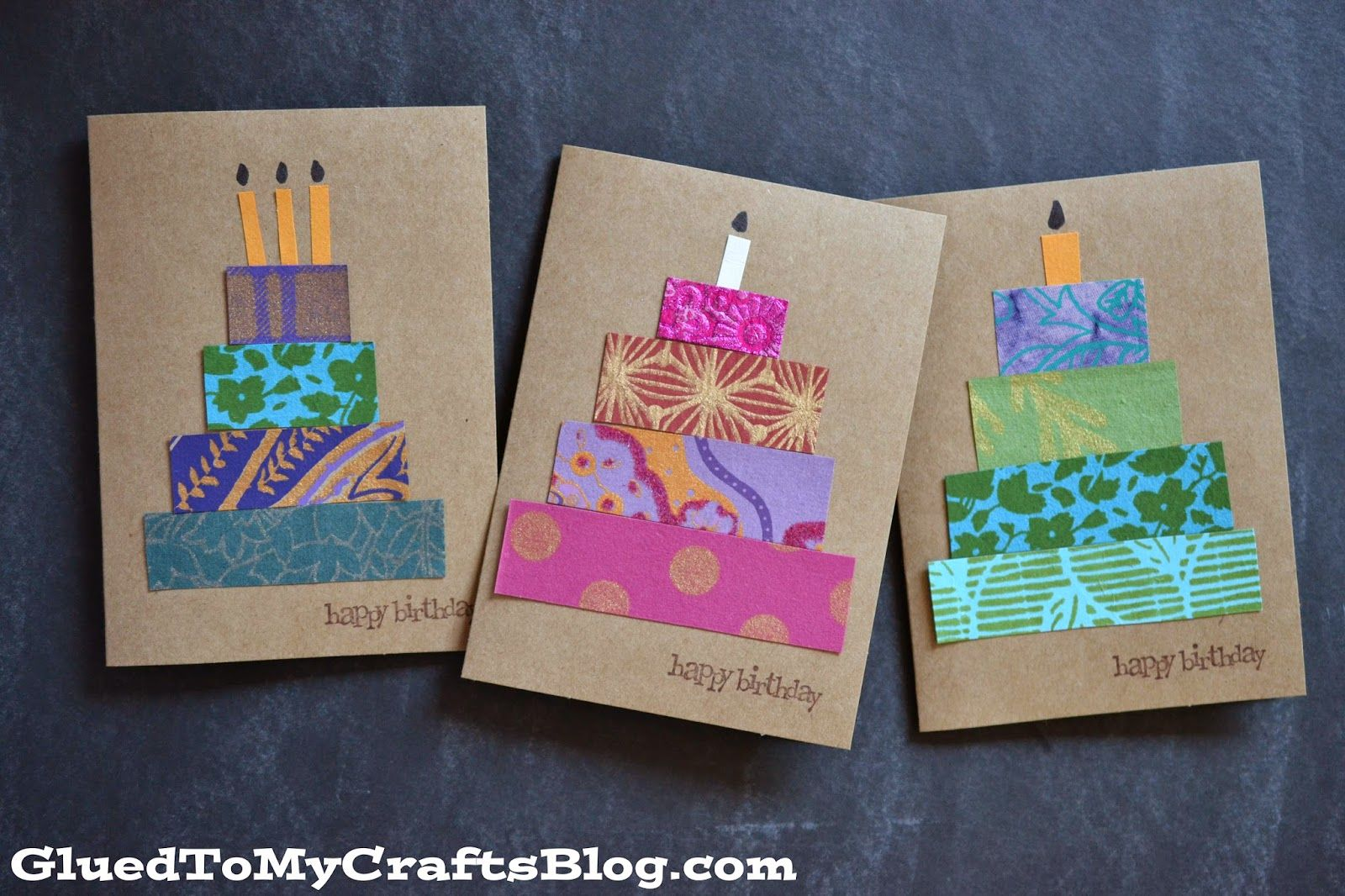 Paper Scrap Birthday Cards Craft Idea Stickyu With Images