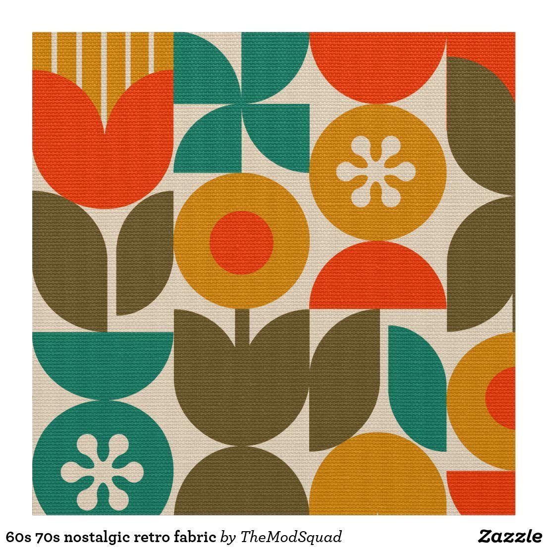 1970s Original Curtain Fabric Orange Green /& Mustard