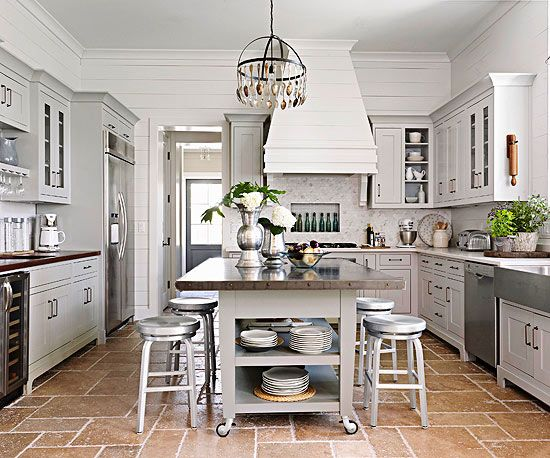 Kitchen Island Storage Ideas and Tips Gray cabinets, Storage and