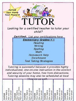 Image result for free template for tutoring flyer | Maureen ...