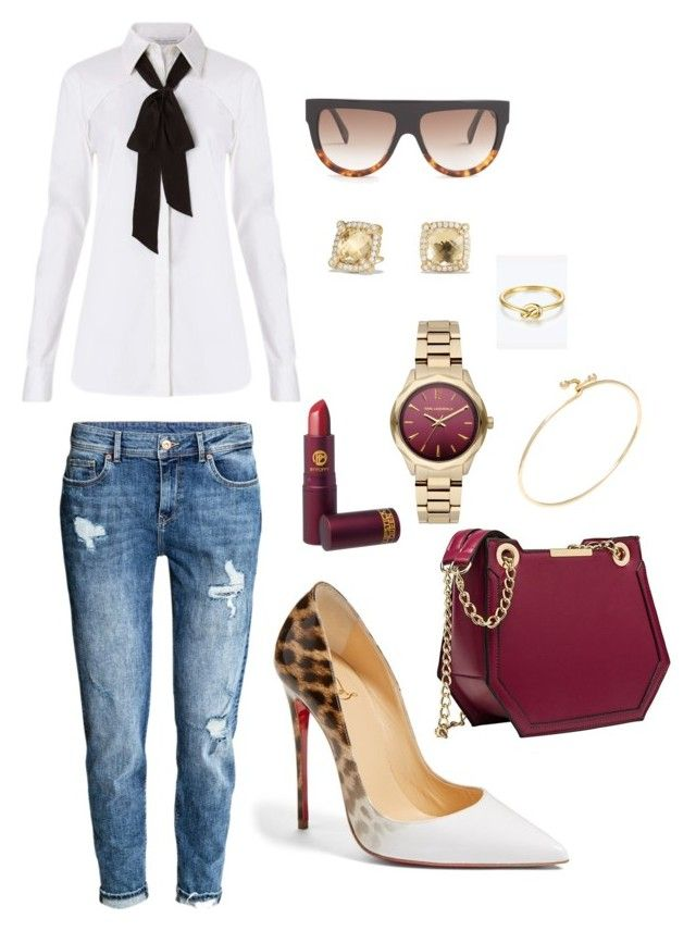 """""""Sexy Rebel!!!"""" by kelornp ❤ liked on Polyvore featuring Christian Louboutin, Diane Von Furstenberg, H&M, David Yurman, CÉLINE, Karl Lagerfeld, Tiffany & Co. and Lipstick Queen"""