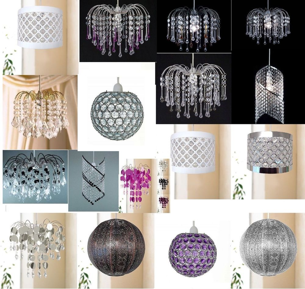 Chandelier Style Ceiling Light Shade Acrylic Crystal Bead Ball Droplet Pendant