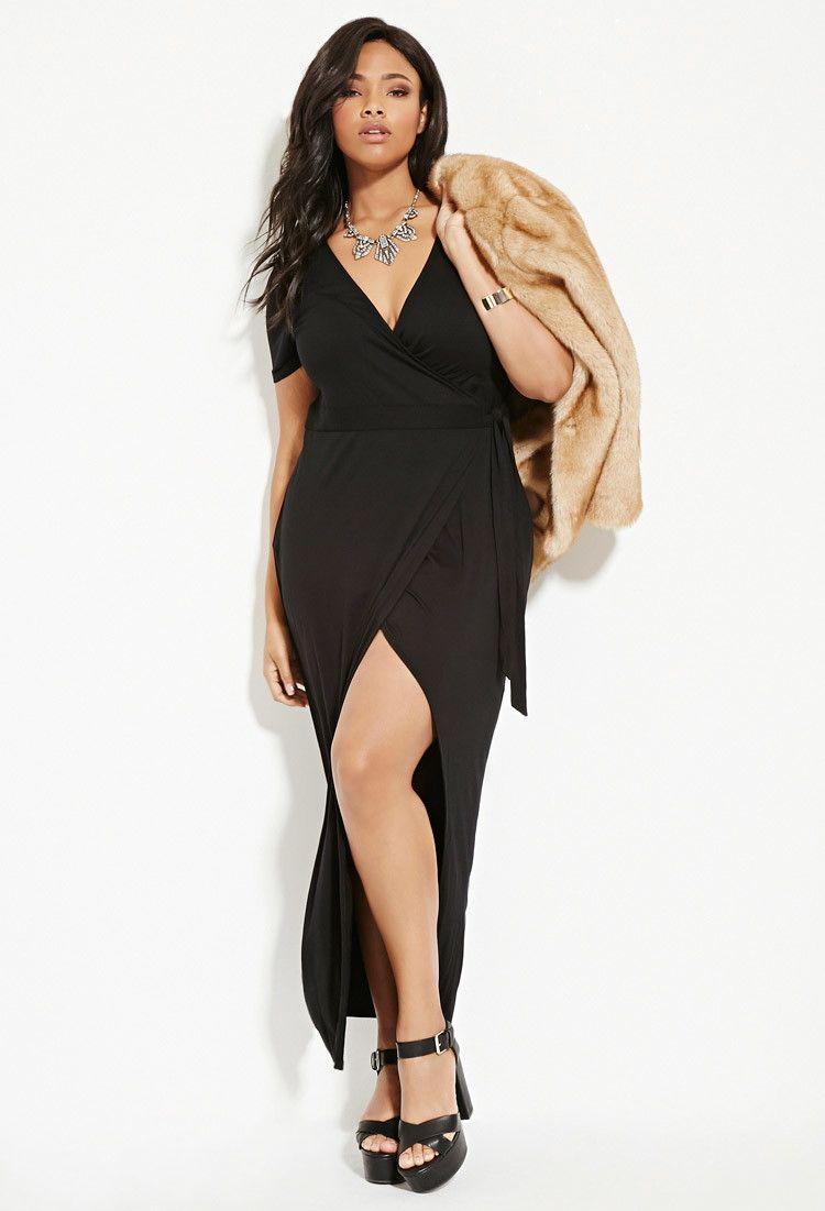 Womenus black plus size wrapfront maxi dress maxi dresses st