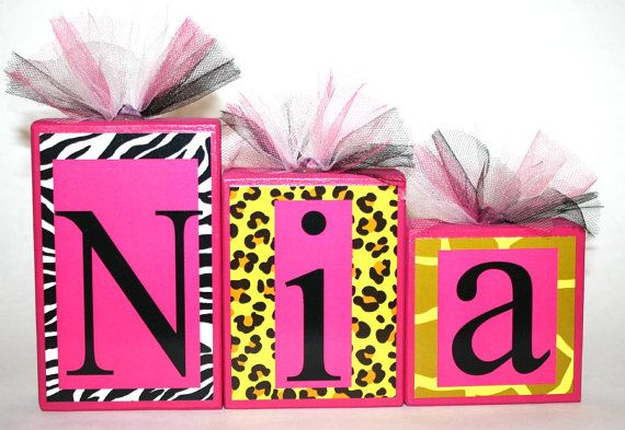 Nia Collection Animal Print Personalized Blocks Name Blocks - www - baby shower nia