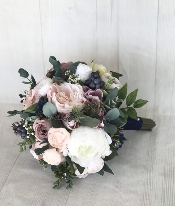 Wedding bouquet, Dusty Rose Bridal Bouquet, Mauve Bouquet, Dusty Rose & Navy wedding flowers, Mauve silk flowers, Mauve and Navy bouquet