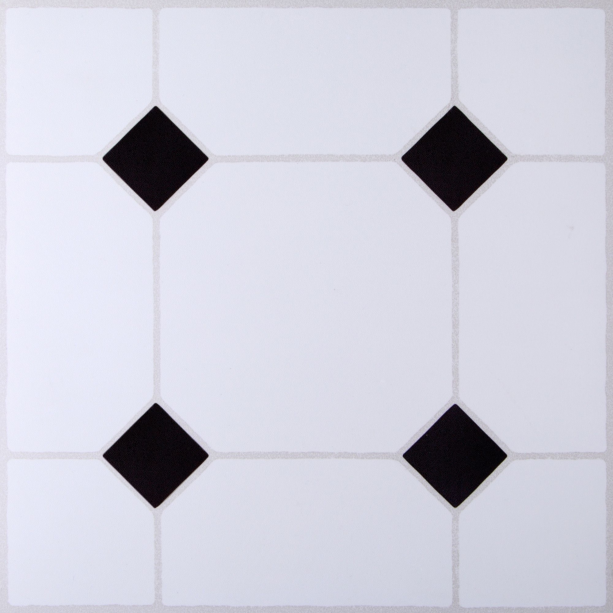B&Q Black & White Tile Effect Self Adhesive Vinyl Tile 1.02m Pack