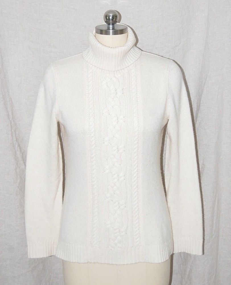 62b1852859 TSE 100% Cashmere Ivory Cable Knit Turtleneck Sweater M