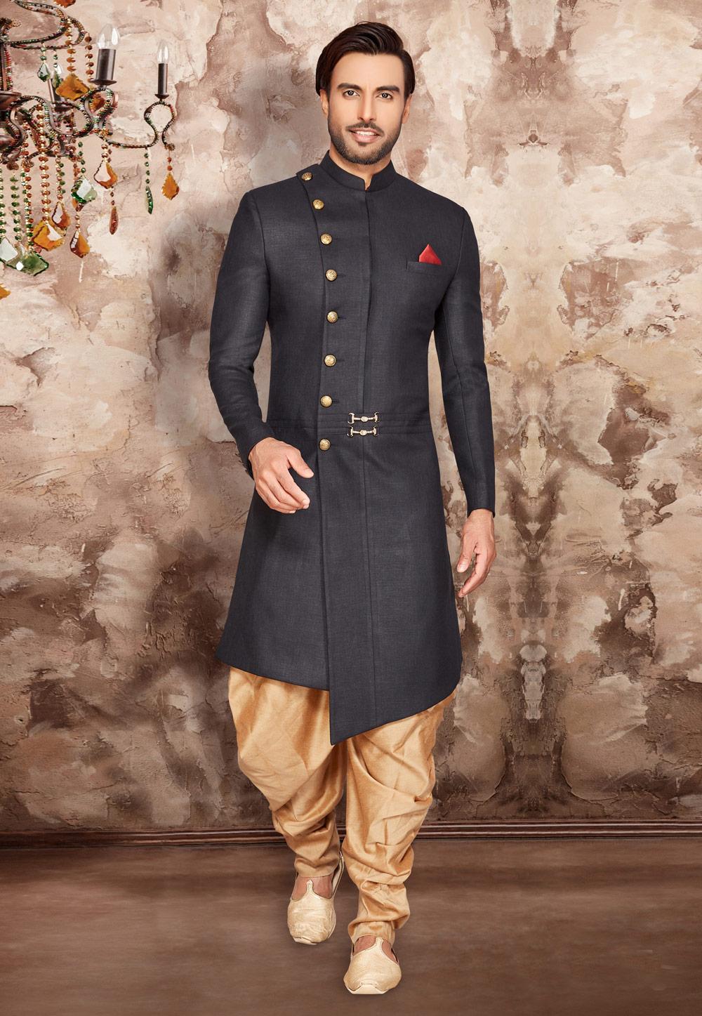 Black Cotton Readymade Dhoti Sherwani 175263 Groom Dress Men Fashion Suits For Men Sherwani For Men Wedding [ 1447 x 1000 Pixel ]