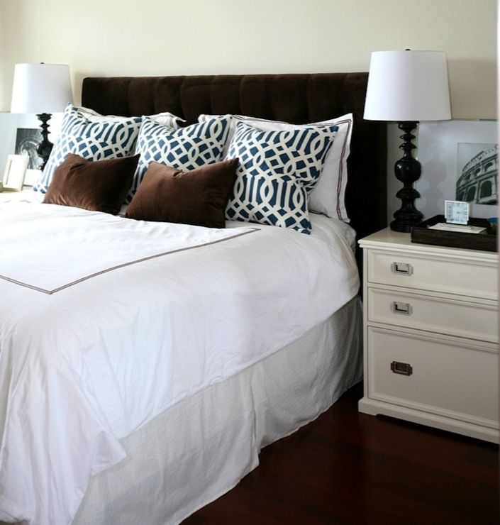 Chic Cozy Bedroom Design With Chocolate Brown Velvet Tufted Headboard Lumbar Pillows