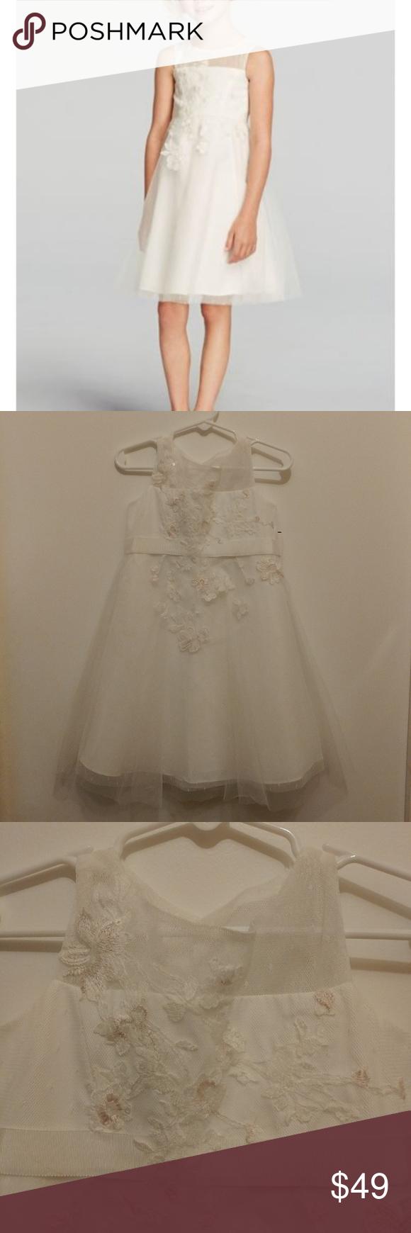 f1f5a0443e4 David s Bridal Flower Girl Dress Size 4 NWT David s Bridal Lace Applique  Illusion Neckline Tulle Dress